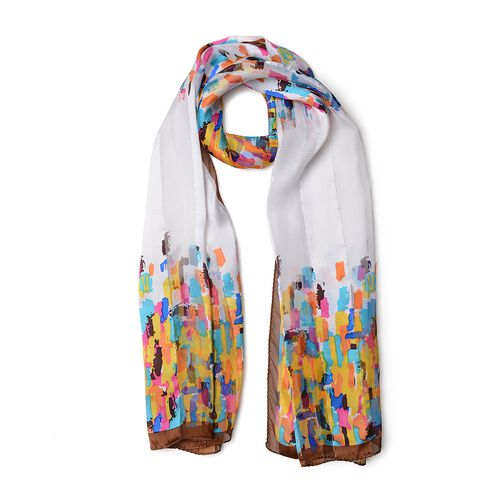 100% Mulberry Silk Blue, Pink, Yellow and Multi Colour Stripe Shape Pattern Scarf (Size 170x53 Cm) (