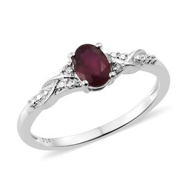 African Ruby (Ovl), Natural Cambodian Zircon Ring in Sterling Silver 1.000 Ct.