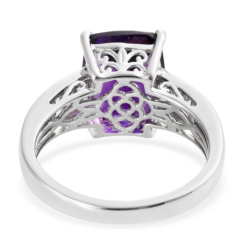 Lusaka Amethyst (Cush 5.25 Ct), Natural Cambodian Zircon Ring in Platinum Overlay Sterling Silver 6.250 Ct.