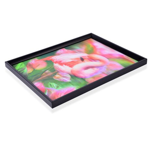 Wall Decor - Flamingo Framed 4D Wall Painting (Size 41x31.15x2 Cm)