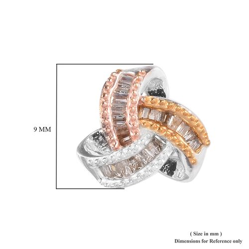 Platinum, Yellow and Rose Gold Overlay Sterling Silver Diamond Love Knot Earrings (with Push Back) 0.25 Ct.