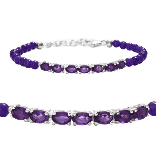 Amethyst (Ovl), Purple Agate Beads Bracelet (Size 7.5) in Sterling Silver 17.750  Ct.