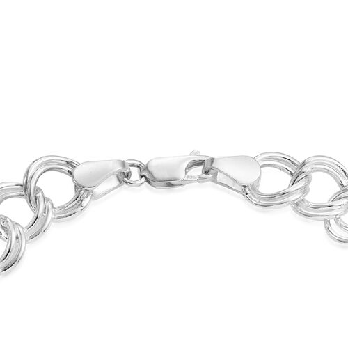 JCK Vegas Collection Sterling Silver Hand Crafted Double Curb Bracelet (Size 8), Silver 19.50 Gms.
