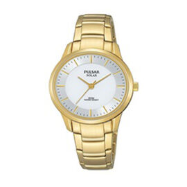 Pulsar Ladies Solar Gold Bracelet White Dial 50M Watch