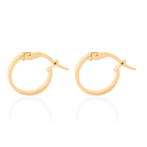 Italian Made- Tuscany Collection - 9K Yellow Gold Creole Hoop Earrings (with Clasp)