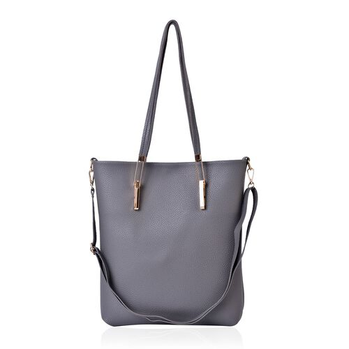 Grey Colour Large Handbag with Adjustable Shoulder Strap (Size 32x30x7 Cm) and Small Handbag (Size 31x27x4 Cm)