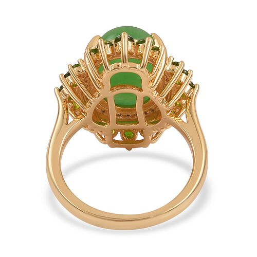 Green Jade (Ovl 7.00 Ct), Russian Diopside and Natural White Cambodian Zircon Ring in Yellow Gold Overlay Sterling Silver 8.030 Ct. Silver wt 5.00 Gms.
