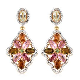 Rainbow Tourmaline (Ovl and Rnd), Diamond Floral Earrings (with Push Back) in 14K Gold Overlay Sterl