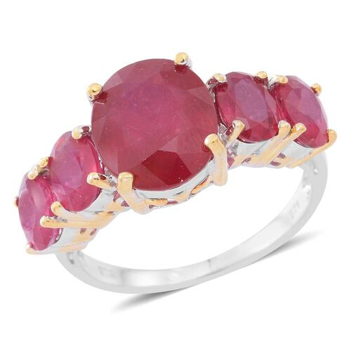 10 Carat African Ruby 5 Stone Ring in Rhodium and Gold Plated Silver