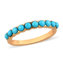 Arizona Sleeping Beauty Turquoise Half Eternity Ring in 14K Gold Overlay Sterling Silver