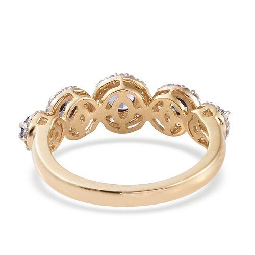 9K Yellow Gold 1.35 Ct AA Tanzanite Ring with Natural Cambodian Zircon