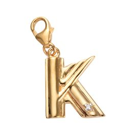 Diamond (Rnd) Initial K Charm in 14K Gold Overlay Sterling Silver