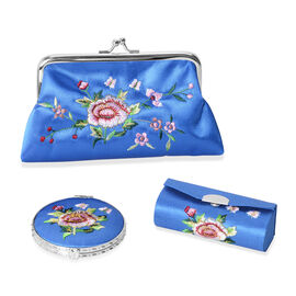 Set of 3 Floral Embroidered Blue Colour Cosmetic Organizer (Coin Purse, Compact Mirror and Lipstick Case)