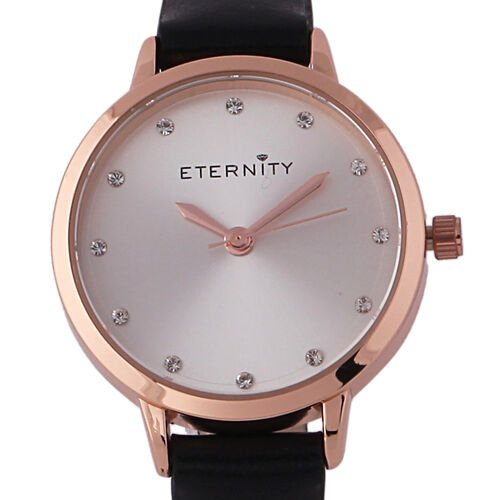 ETERNITY Swarovski Studded Sunray Dial Ladies Watch in Rose Gold Tone with Genuine Leather Black Strap