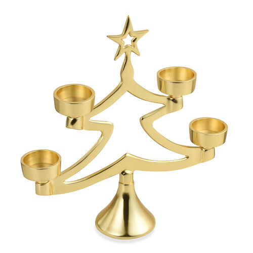 Home Decor - Christmas Collection - Christmas Tree Candle Holder Centrepiece - Gold Tone
