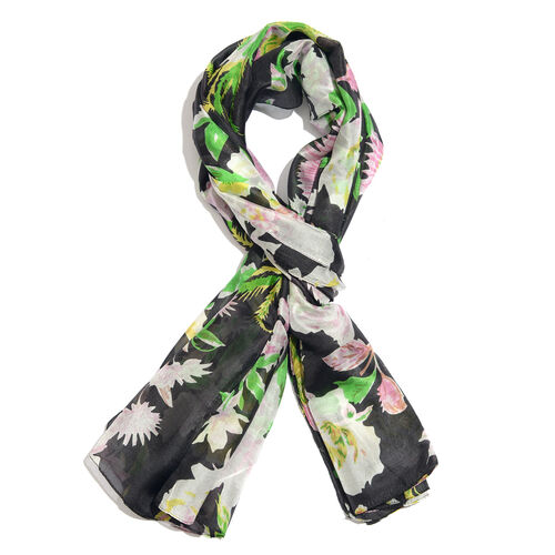 100% Mulberry Silk Black, Green and Multi Colour Handscreen Floral and Leaves Printed Scarf (Size 18