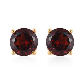 Mozambique Garnet (Rnd) Stud Earrings (with Push Back) in 14K Gold Overlay Sterling Silver 3.00 Ct.
