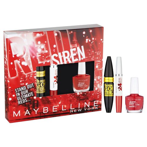 LOREAL Maybelline Colossal Go Extreme Mascara Leather Black (9.5 ML), Super Stay 24 Ultimate Red Lip Colour and Red Nail Colour (10 ML)