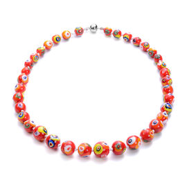 Millefiori Murano Style Glass Beaded Necklace (Size 21) with Magnetic Lock in Stainless Steel