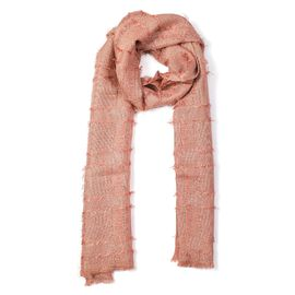 Close Out Deal- Metallic Fibre Scarf (Size 50x165 Cm) - Dusty Pink