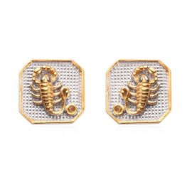 Citrine Scorpio Zodiac Stud Earrings (with Push Back) in Yellow Gold and Platinum Overlay Sterling S