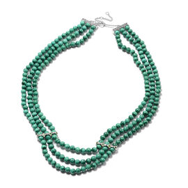 Malachite and Russian Diopside Three-Layer Necklace (Size 20 with Extension) in Rhodium Overlay Ster