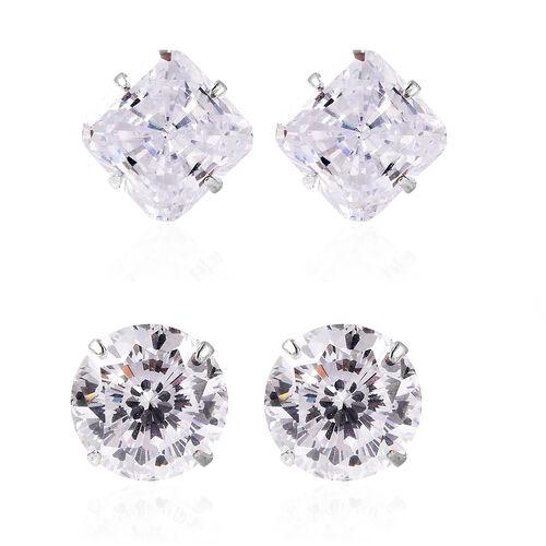 Chrismas Bauble Earring- Set of 2 - ELANZA AAAA Special Radiant Cut Simulated Diamond Stud Earrings
