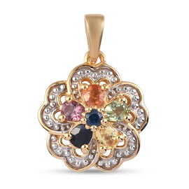 Rainbow Sapphire Floral Pendant in 14K Gold Overlay Sterling Silver 1.11 ct.