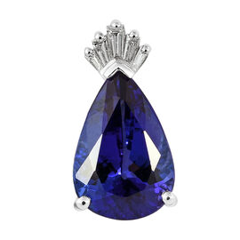 RHAPSODY 4.07 Ct AAAA Tanzanite and Diamond Teardrop Pendant in 950 Platinum 2.75 Grams