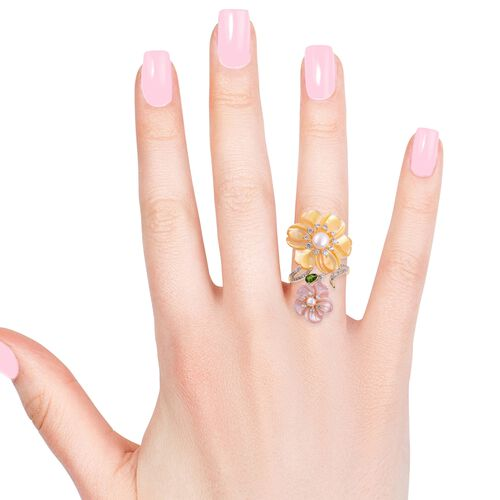 Jardin Collection -Yellow Mother of Pearl (25.00mm), Pink Mother of Pearl and Multi Gemstones Crossover Ring in Gold and Rhodium Overlay Sterling Silver 15.580 Ct, Silver wt. 6.00 Gms