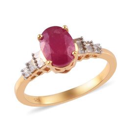 African Ruby and Diamond Ring in 14K Gold Overlay Sterling Silver 1.96 Ct.