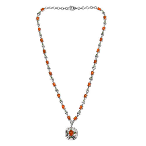 Orange Ethiopian Opal Enamelled Necklace (Size 18) in Platinum Overlay Sterling Silver 6.50 Ct, Silver wt. 18.00 Gms