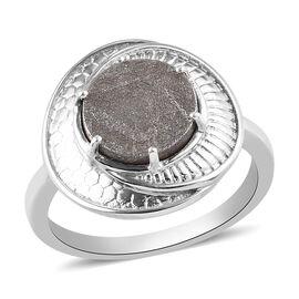 Meteorite Ring in Platinum Overlay Sterling Silver 5.50  Ct.