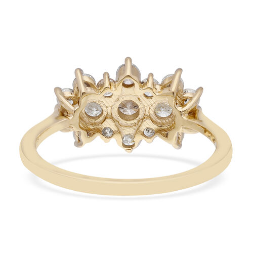 Limited Edition-9K Yellow Gold SGL Certified Diamond (I3/G-H) Boat Ring 1.00 Ct.
