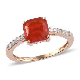 Sundays Child - 9K Yellow Gold Asscher Cut AAA Jalisco Fire Opal and Diamond Ring 1.35 Ct.