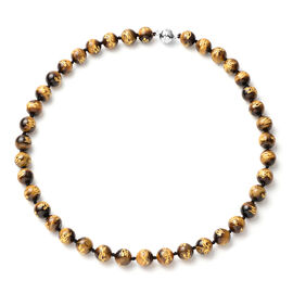 Yellow Tiger Eye  Necklace (Size - 18) in Rhodium Overlay Sterling Silver 280  Ct