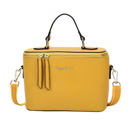 SENCILLEZ 100% Genuine Leather Convertible Bag with Detachable Strap and Zipper Closure (Size 22x10x