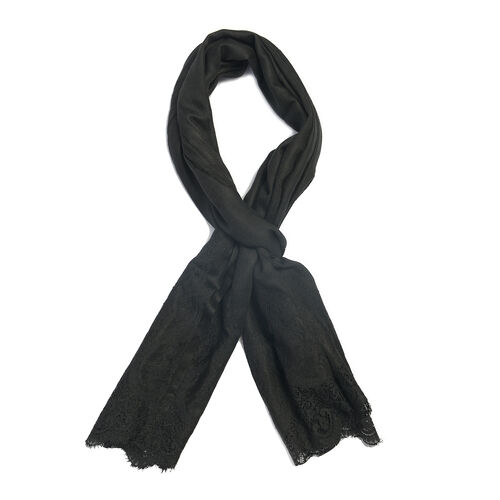 Designer Inspired- Luxury Lace Cashmere Wool and Mulberry Silk Scarf - Black (Size 200X70 Cm)