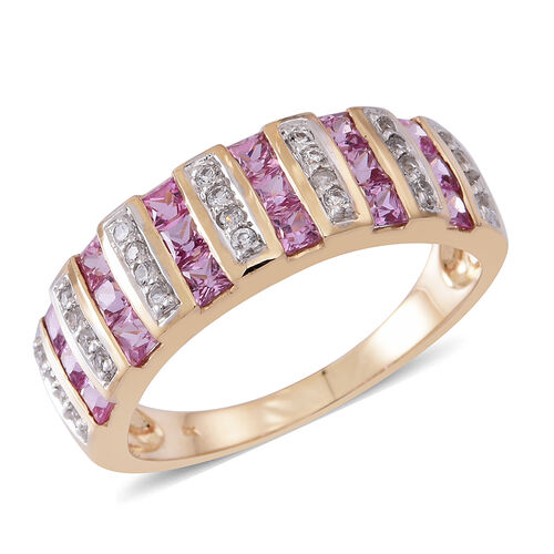 9K Yellow Gold AA Pink Sapphire (Sqr), Natural White Cambodian Zircon Ring 2.250 Ct. Pink Sapphire 2