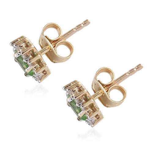 WEBEX- 9K Yellow Gold AA Tsavorite Garnet (0.57 Ct) Diamond Earrings (with Push Back)  0.685 Ct.