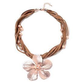 Multi Row Floral Necklace in Rose Tone Size 20 With 2.5 inch Extender