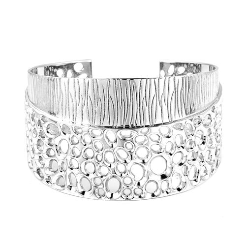 RACHEL GALLEY Rhodium Overlay Sterling Silver Ocean Enkai Cuff Bangle (Size 7.5), Silver wt. 73.00 Gms.