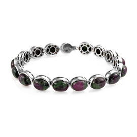 50 Ct Ruby Zoisite and Zircon Line Bracelet in Platinum Plated Silver 18.08 Grams 7.75 Inch