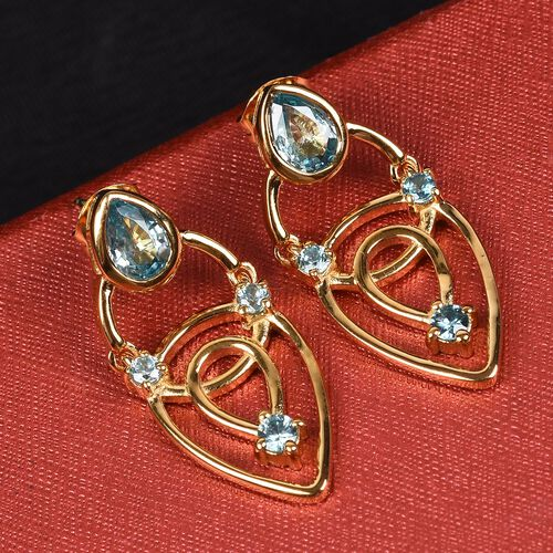 Ratanakiri Blue Zircon Earrings (with Push Back) in 14K Gold Overlay Sterling Silver 3.00 Ct, Silver wt 5.10 Gms