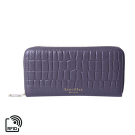Sencillez 100% Genuine Leather RFID Protected Croc Embossed Wallet (Size 19x2x10cm) - Grey