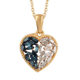 Blue and White Diamond (Rnd and Bgt) Heart Pendant With Chain (Size 20) in 14K Gold Overlay with Blue Plating Sterling Silver 0.250 Ct.