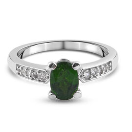 GP- Russian Diopside, Natural Cambodian Zircon and Blue Sapphire Ring in Platinum Overlay Sterling S