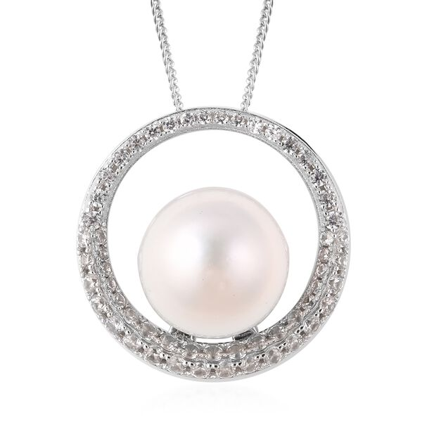 Edison Pearl and White Zircon Circle Pendant with Chain in Rhodium Plated Silver 5.82 Grams 18 Inch