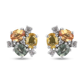 Rainbow Sapphire and Natural Cambodian Zircon Stud Earrings (with Push Back) in Platinum Overlay Ste