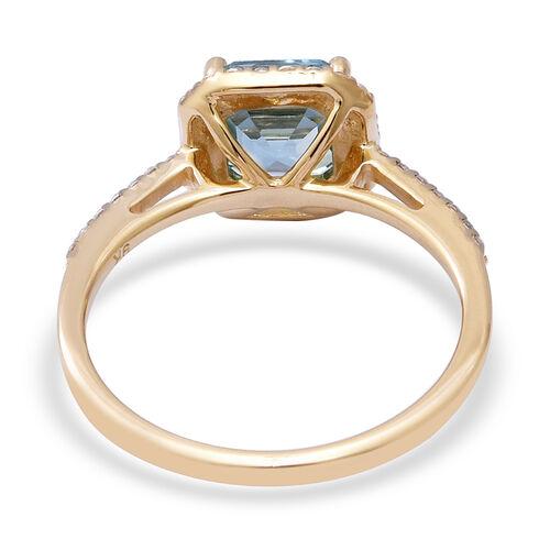 9K Yellow Gold Ratanakiri Blue Zircon and Natural Cambodian Zircon Ring 3.00 Ct.
